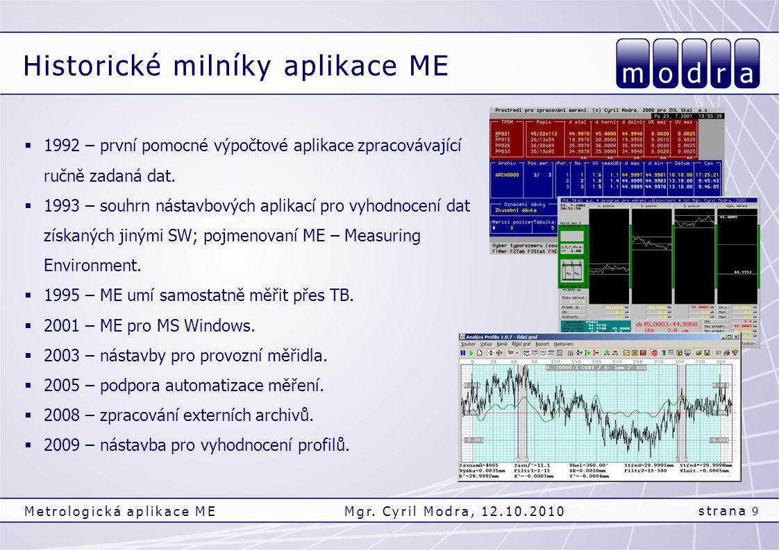 Historické milníky aplikace ME strana 9 Metrologická aplikace MEMgr. Cyril Modra, 12.10.2010  1992 – první pomocné výpočtové aplikace zpracovávající