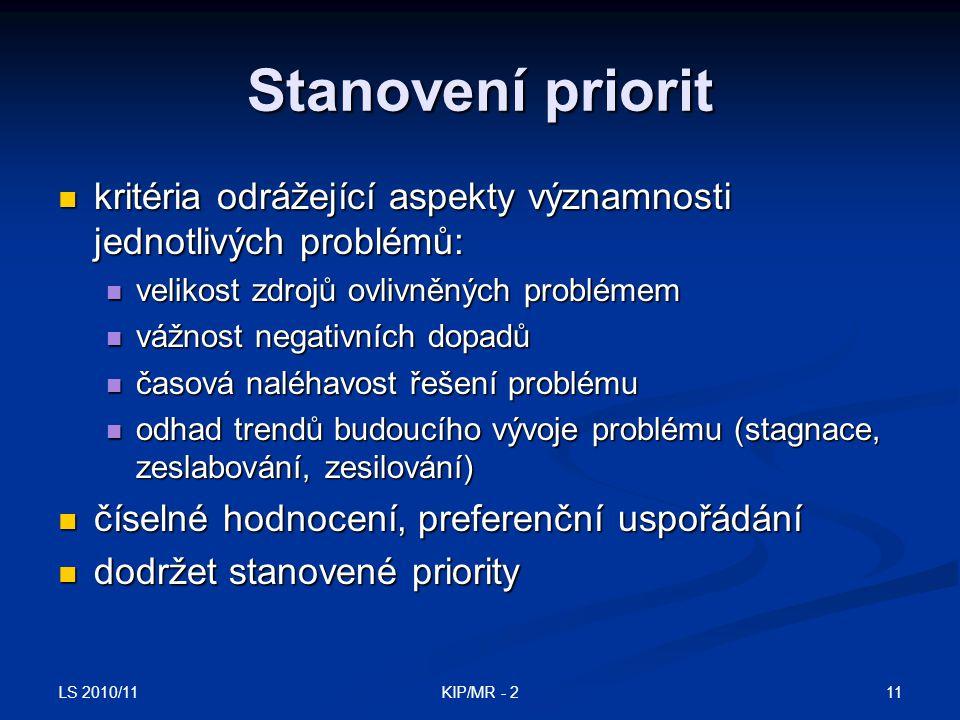 LS 2010/11 11KIP/MR - 2 Stanovení priorit kritéria odrážející aspekty významnosti jednotlivých problémů: kritéria odrážející aspekty významnosti jedno