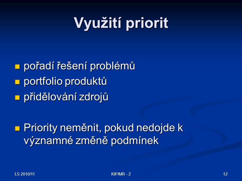 LS 2010/11 12KIP/MR - 2 Využití priorit pořadí řešení problémů pořadí řešení problémů portfolio produktů portfolio produktů přidělování zdrojů přidělo