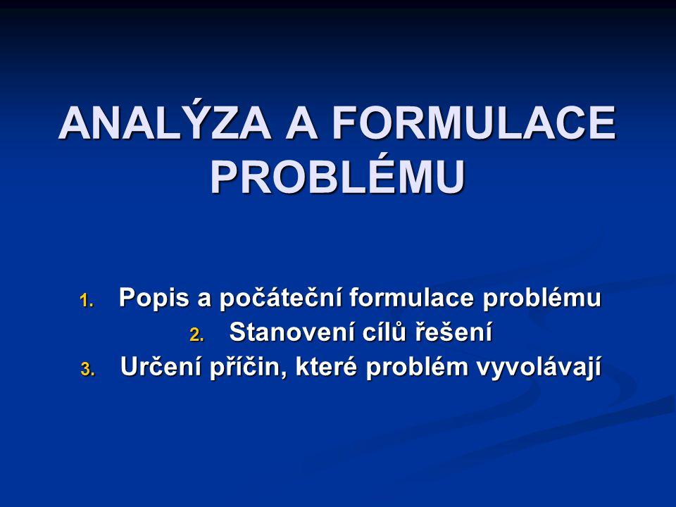 ANALÝZA A FORMULACE PROBLÉMU 1. Popis a počáteční formulace problému 2. Stanovení cílů řešení 3. Určení příčin, které problém vyvolávají