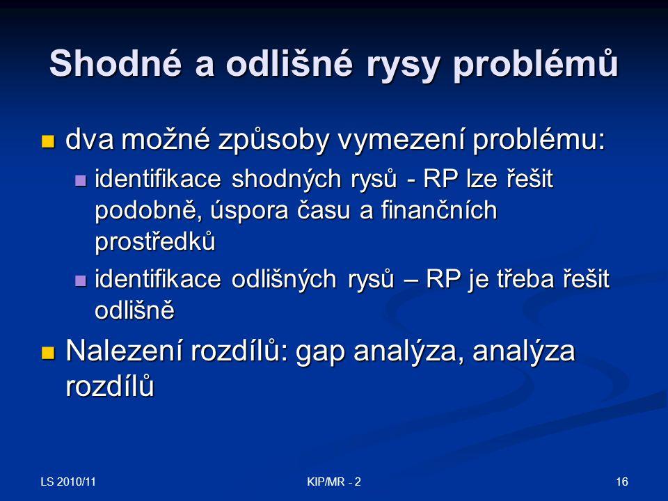 LS 2010/11 16KIP/MR - 2 Shodné a odlišné rysy problémů dva možné způsoby vymezení problému: dva možné způsoby vymezení problému: identifikace shodných