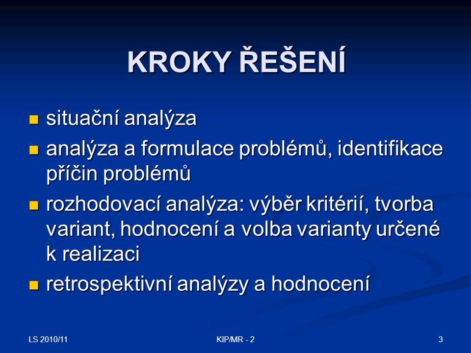 LS 2010/11 3KIP/MR - 2 KROKY ŘEŠENÍ situační analýza situační analýza analýza a formulace problémů, identifikace příčin problémů analýza a formulace p