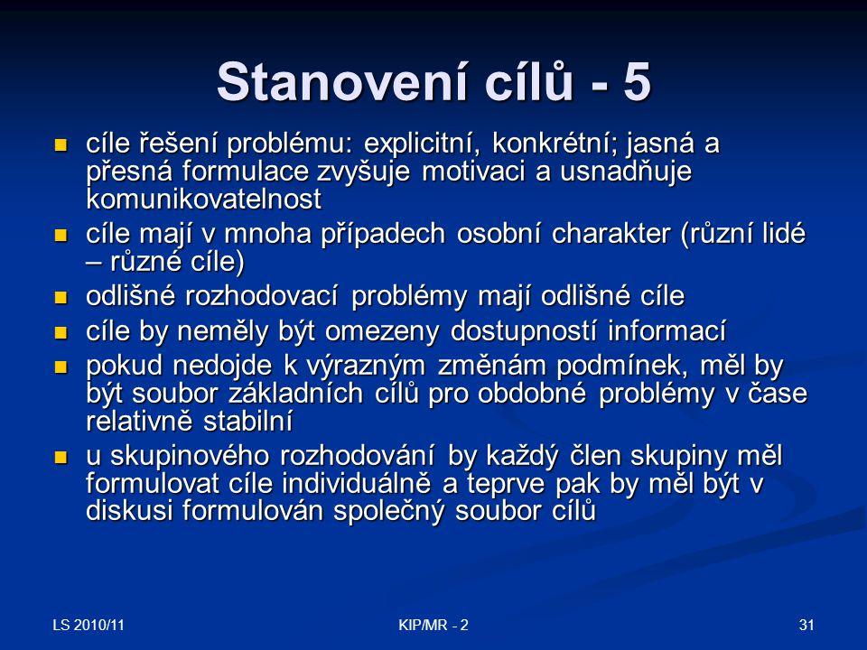 LS 2010/11 31KIP/MR - 2 Stanovení cílů - 5 cíle řešení problému: explicitní, konkrétní; jasná a přesná formulace zvyšuje motivaci a usnadňuje komuniko