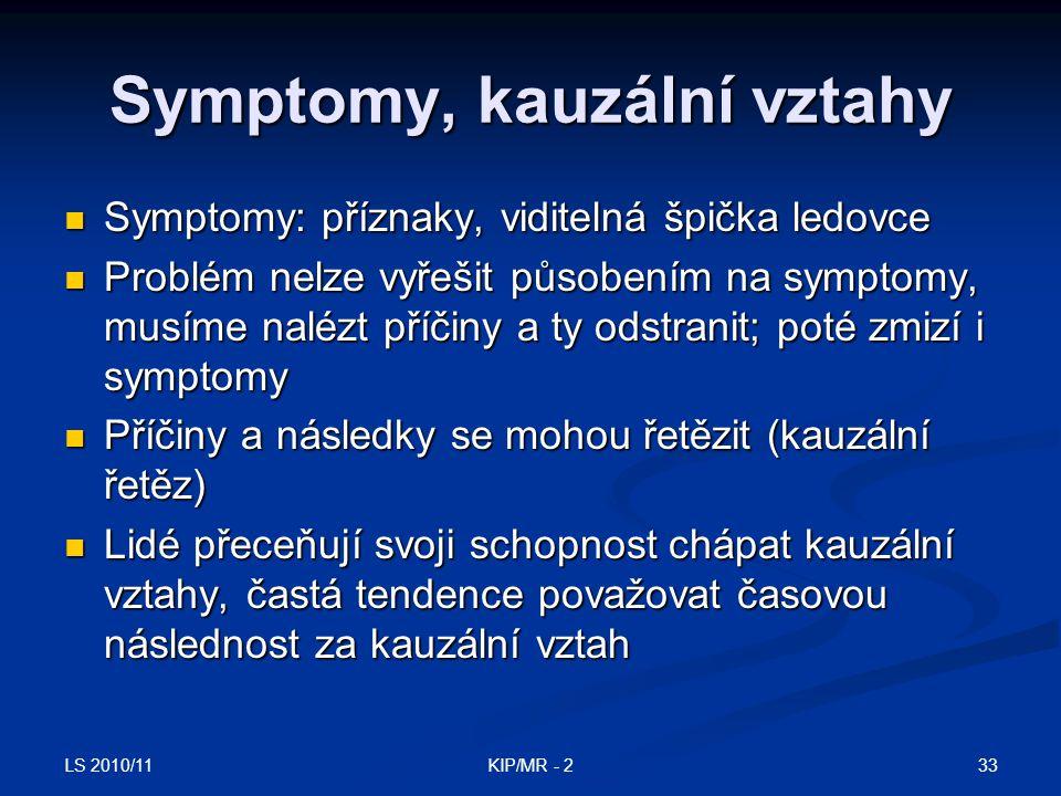 LS 2010/11 33KIP/MR - 2 Symptomy, kauzální vztahy Symptomy: příznaky, viditelná špička ledovce Symptomy: příznaky, viditelná špička ledovce Problém ne