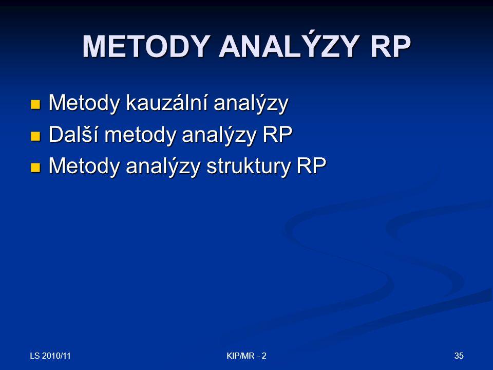 LS 2010/11 35KIP/MR - 2 METODY ANALÝZY RP Metody kauzální analýzy Metody kauzální analýzy Další metody analýzy RP Další metody analýzy RP Metody analý