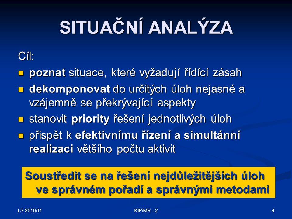 LS 2010/11 5KIP/MR - 2 FÁZE SITUAČNÍ ANALÝZY Rozpoznání problémových situací Rozpoznání problémových situací Dekompozice identifikovaných problémových situací do jasněji definovaných a strukturovaných komponent Dekompozice identifikovaných problémových situací do jasněji definovaných a strukturovaných komponent Posouzení důležitosti dílčích problémů, určení pořadí jejich řešení Posouzení důležitosti dílčích problémů, určení pořadí jejich řešení Stanovení plánu řešení Stanovení plánu řešení určení vhodného postupu řešení dílčích úloh, určení vhodného postupu řešení dílčích úloh, určení řešitele, určení řešitele, časový plán řešení.