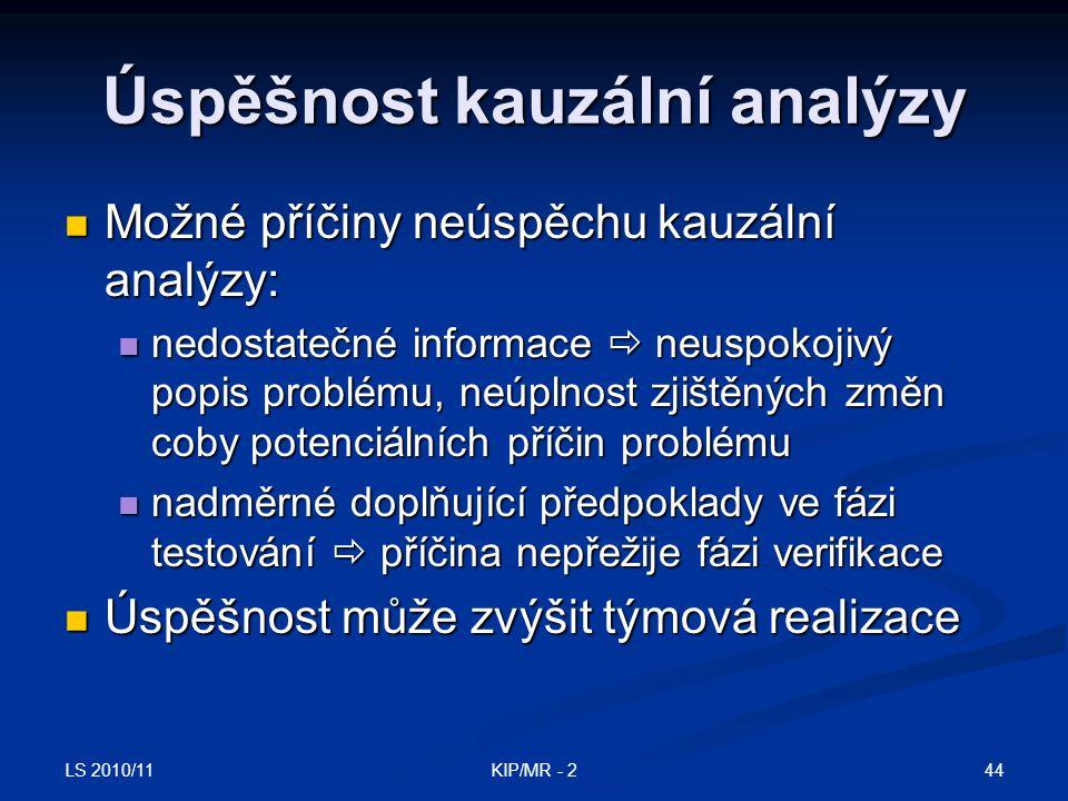 LS 2010/11 44KIP/MR - 2 Úspěšnost kauzální analýzy Možné příčiny neúspěchu kauzální analýzy: Možné příčiny neúspěchu kauzální analýzy: nedostatečné in
