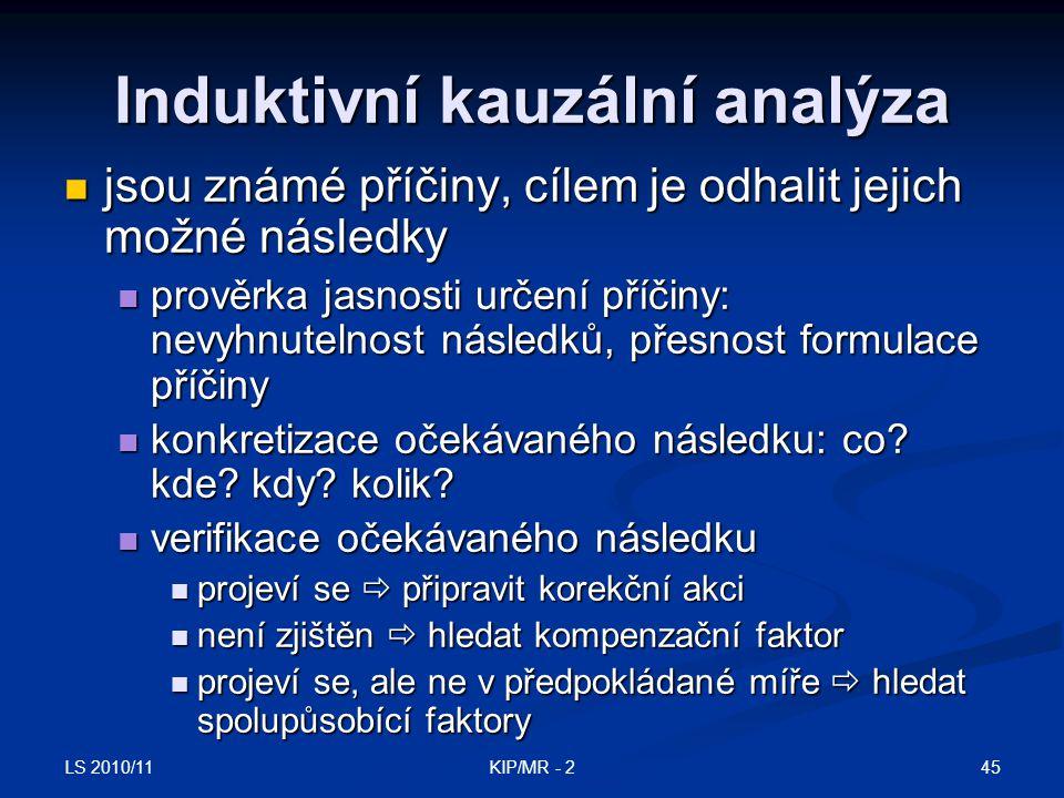 LS 2010/11 45KIP/MR - 2 Induktivní kauzální analýza jsou známé příčiny, cílem je odhalit jejich možné následky jsou známé příčiny, cílem je odhalit je