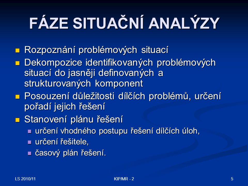 LS 2010/11 5KIP/MR - 2 FÁZE SITUAČNÍ ANALÝZY Rozpoznání problémových situací Rozpoznání problémových situací Dekompozice identifikovaných problémových