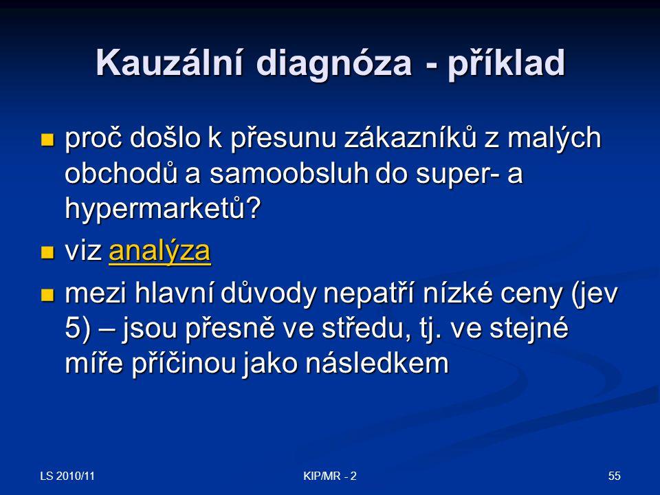 LS 2010/11 55KIP/MR - 2 Kauzální diagnóza - příklad proč došlo k přesunu zákazníků z malých obchodů a samoobsluh do super- a hypermarketů? proč došlo