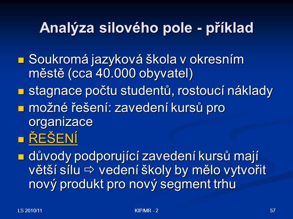 LS 2010/11 57KIP/MR - 2 Analýza silového pole - příklad Soukromá jazyková škola v okresním městě (cca 40.000 obyvatel) Soukromá jazyková škola v okres