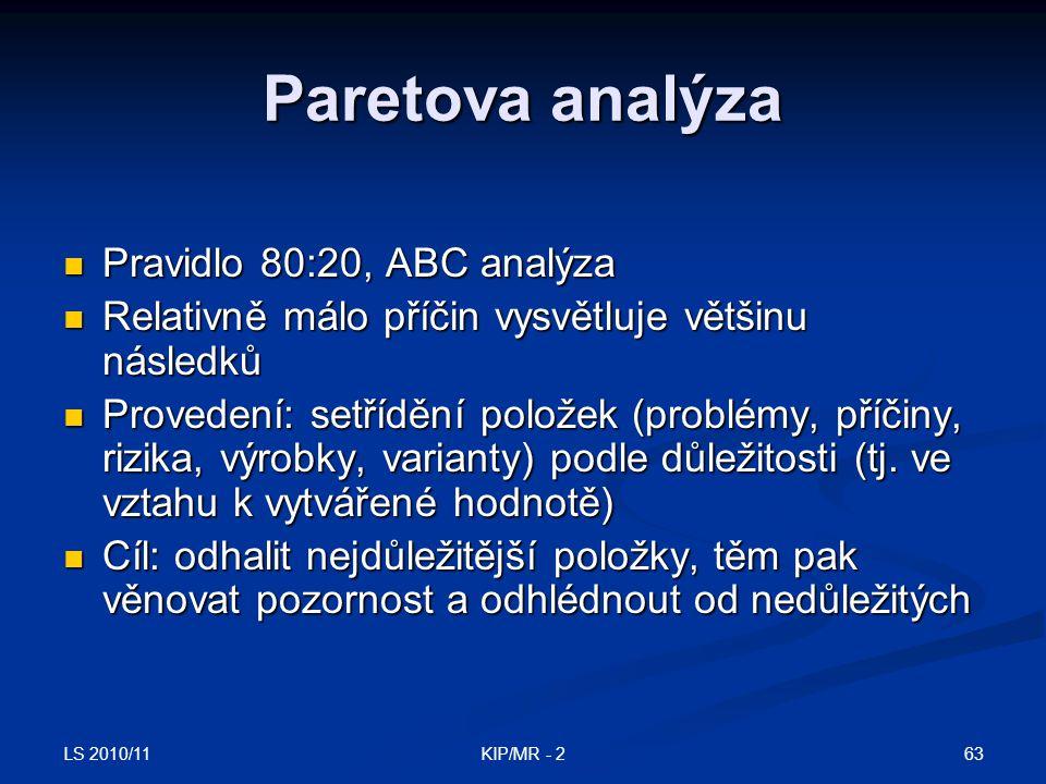 LS 2010/11 63KIP/MR - 2 Paretova analýza Pravidlo 80:20, ABC analýza Pravidlo 80:20, ABC analýza Relativně málo příčin vysvětluje většinu následků Rel