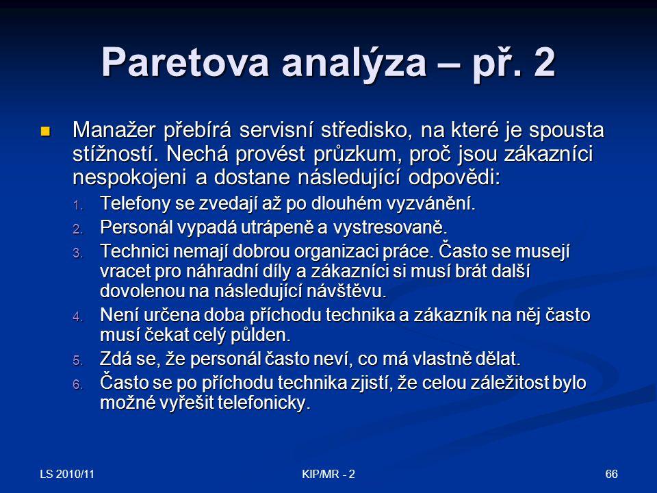 LS 2010/11 66KIP/MR - 2 Paretova analýza – př. 2 Manažer přebírá servisní středisko, na které je spousta stížností. Nechá provést průzkum, proč jsou z