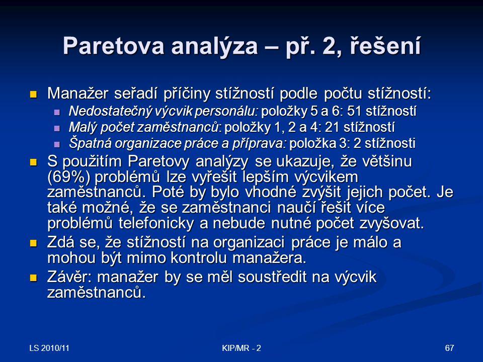 LS 2010/11 67KIP/MR - 2 Paretova analýza – př. 2, řešení Manažer seřadí příčiny stížností podle počtu stížností: Manažer seřadí příčiny stížností podl