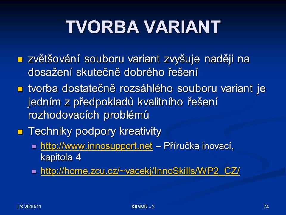 LS 2010/11 74KIP/MR - 2 TVORBA VARIANT zvětšování souboru variant zvyšuje naději na dosažení skutečně dobrého řešení zvětšování souboru variant zvyšuj
