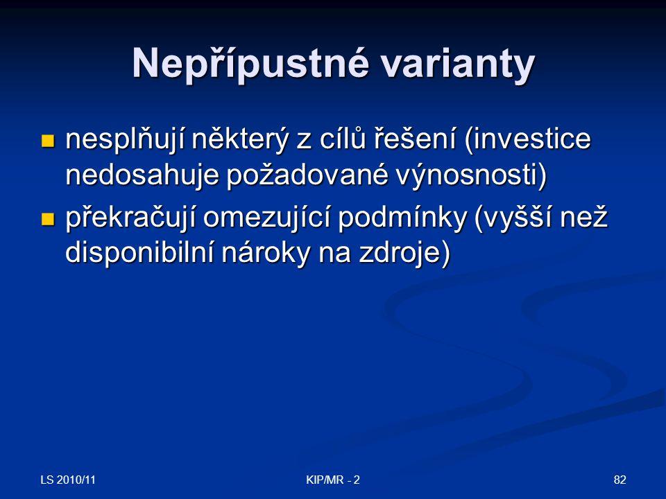 LS 2010/11 82KIP/MR - 2 Nepřípustné varianty nesplňují některý z cílů řešení (investice nedosahuje požadované výnosnosti) nesplňují některý z cílů řeš