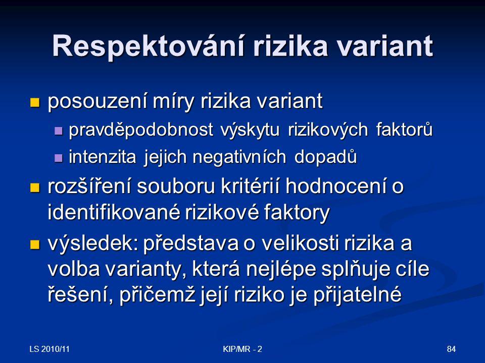 LS 2010/11 84KIP/MR - 2 Respektování rizika variant posouzení míry rizika variant posouzení míry rizika variant pravděpodobnost výskytu rizikových fak