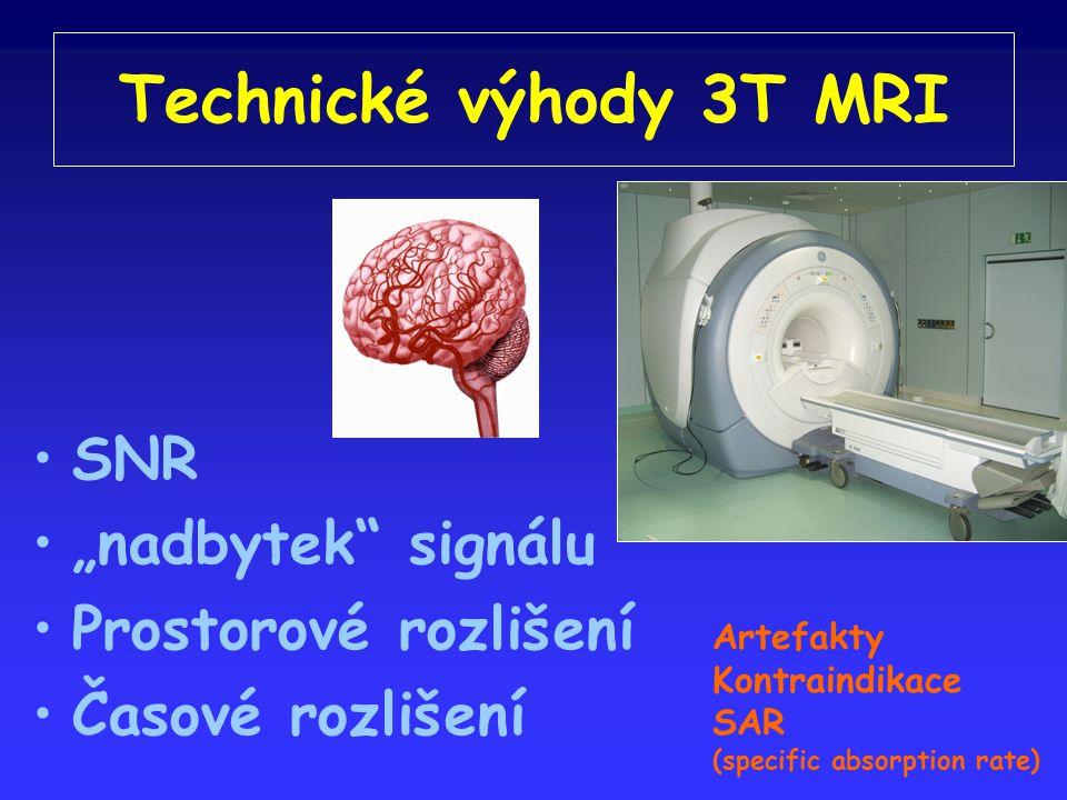 """Technické výhody 3T MRI SNR """"nadbytek signálu Prostorové rozlišení Časové rozlišení Artefakty Kontraindikace SAR (specific absorption rate)"""