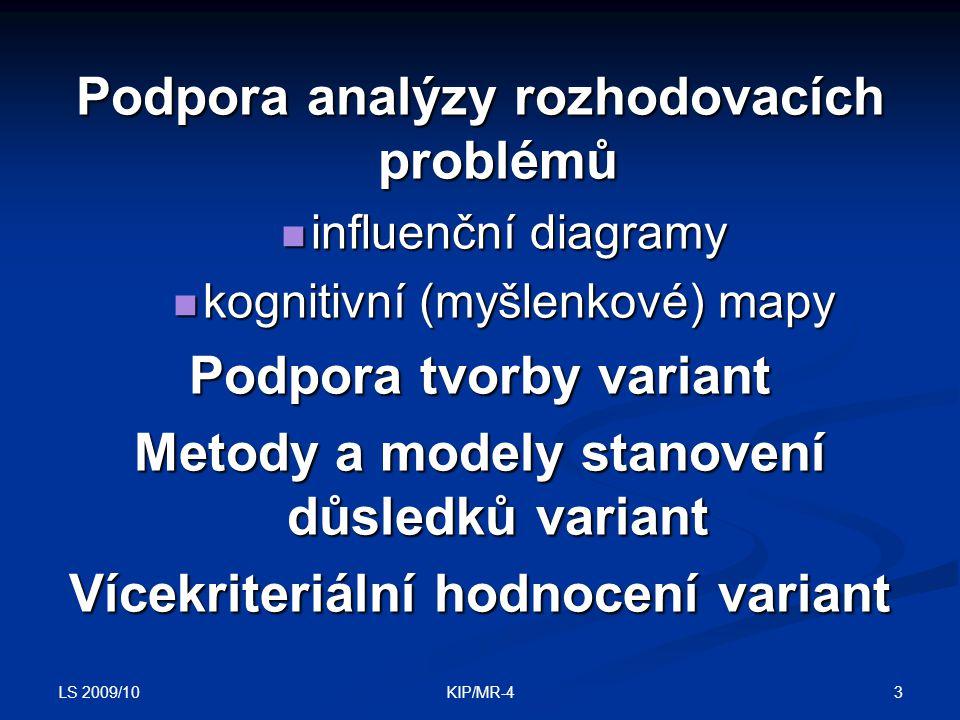 LS 2009/10 3KIP/MR-4 Podpora analýzy rozhodovacích problémů influenční diagramy influenční diagramy kognitivní (myšlenkové) mapy kognitivní (myšlenkov