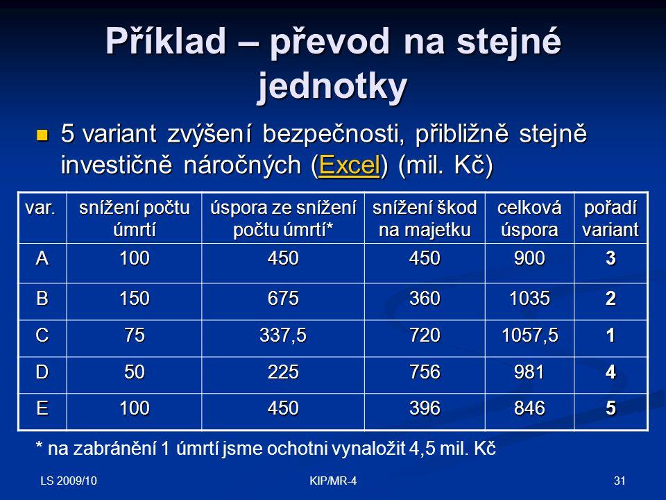LS 2009/10 31KIP/MR-4 Příklad – převod na stejné jednotky 5 variant zvýšení bezpečnosti, přibližně stejně investičně náročných (Excel) (mil. Kč) 5 var