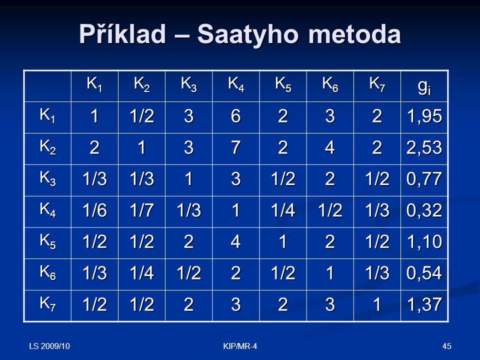 LS 2009/10 45KIP/MR-4 Příklad – Saatyho metoda K1K1K1K1 K2K2K2K2 K3K3K3K3 K4K4K4K4 K5K5K5K5 K6K6K6K6 K7K7K7K7 gigigigi K1K1K1K111/2362321,95 K2K2K2K22