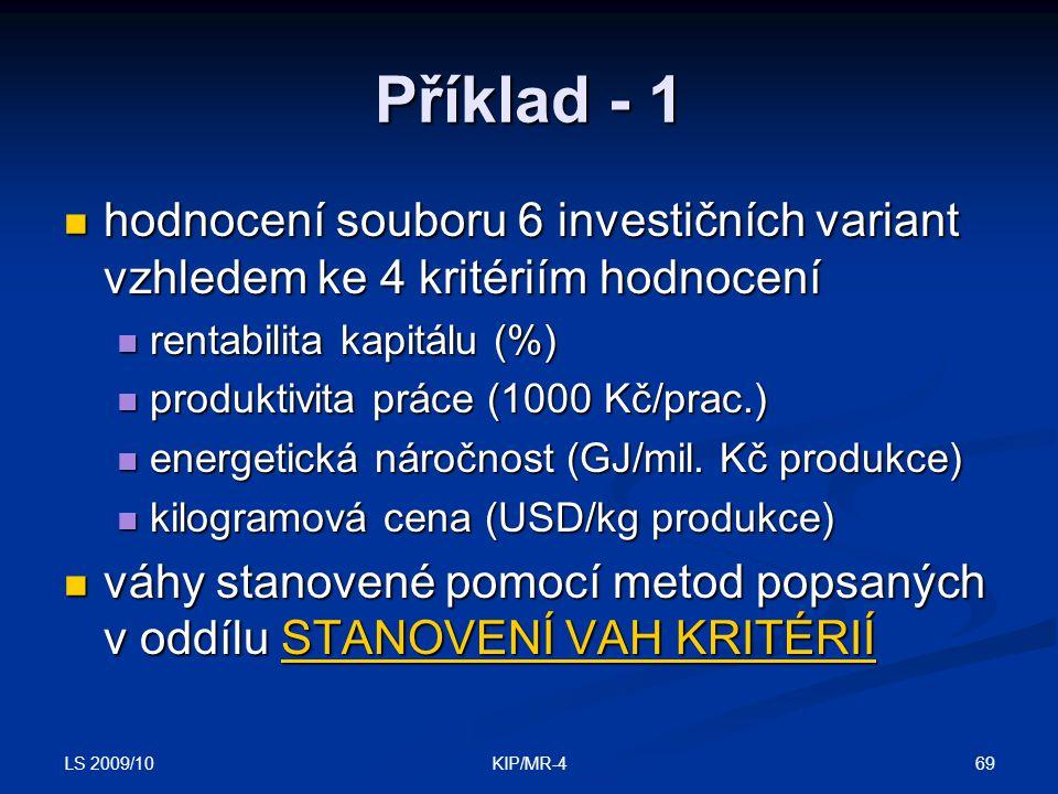 LS 2009/10 69KIP/MR-4 Příklad - 1 hodnocení souboru 6 investičních variant vzhledem ke 4 kritériím hodnocení hodnocení souboru 6 investičních variant