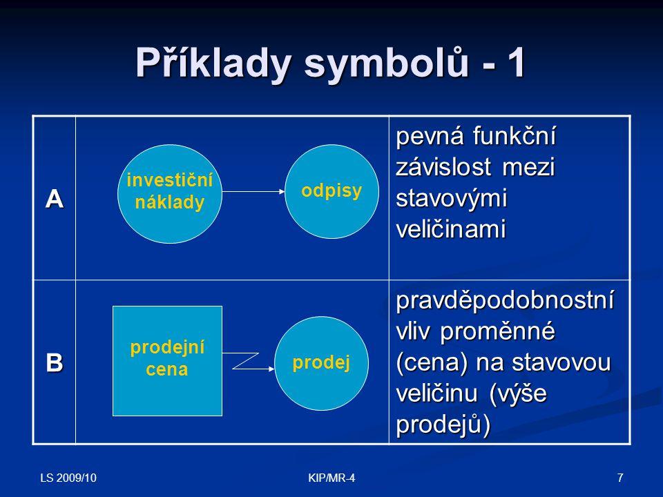 LS 2009/10 7KIP/MR-4 Příklady symbolů - 1 A pevná funkční závislost mezi stavovými veličinami B pravděpodobnostní vliv proměnné (cena) na stavovou vel