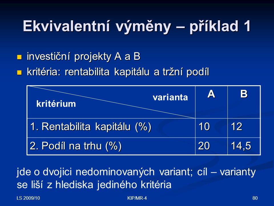 LS 2009/10 80KIP/MR-4 Ekvivalentní výměny – příklad 1 investiční projekty A a B investiční projekty A a B kritéria: rentabilita kapitálu a tržní podíl