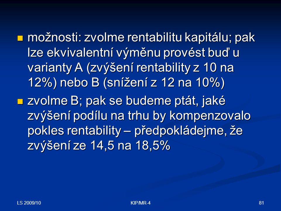 LS 2009/10 81KIP/MR-4 možnosti: zvolme rentabilitu kapitálu; pak lze ekvivalentní výměnu provést buď u varianty A (zvýšení rentability z 10 na 12%) ne
