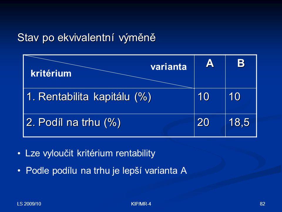 LS 2009/10 82KIP/MR-4 Stav po ekvivalentní výměně AB 1. Rentabilita kapitálu (%) 10 10101010 2. Podíl na trhu (%) 20 18,5 kritérium varianta Lze vylou