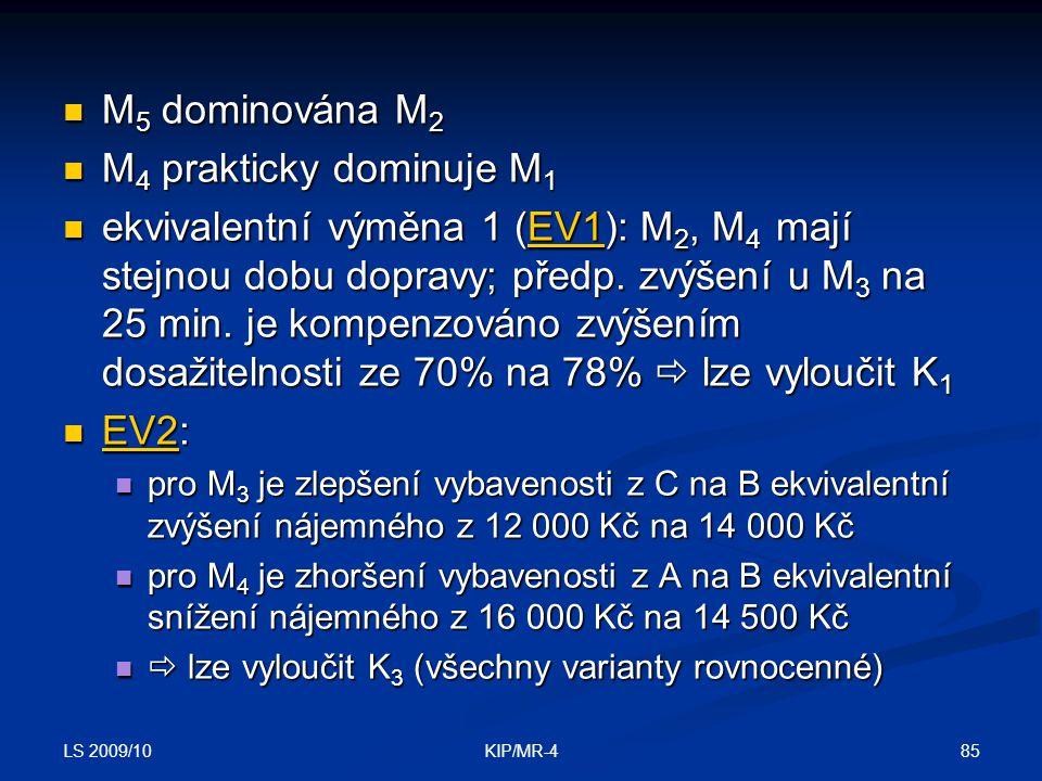 LS 2009/10 85KIP/MR-4 M 5 dominována M 2 M 5 dominována M 2 M 4 prakticky dominuje M 1 M 4 prakticky dominuje M 1 ekvivalentní výměna 1 (EV1): M 2, M