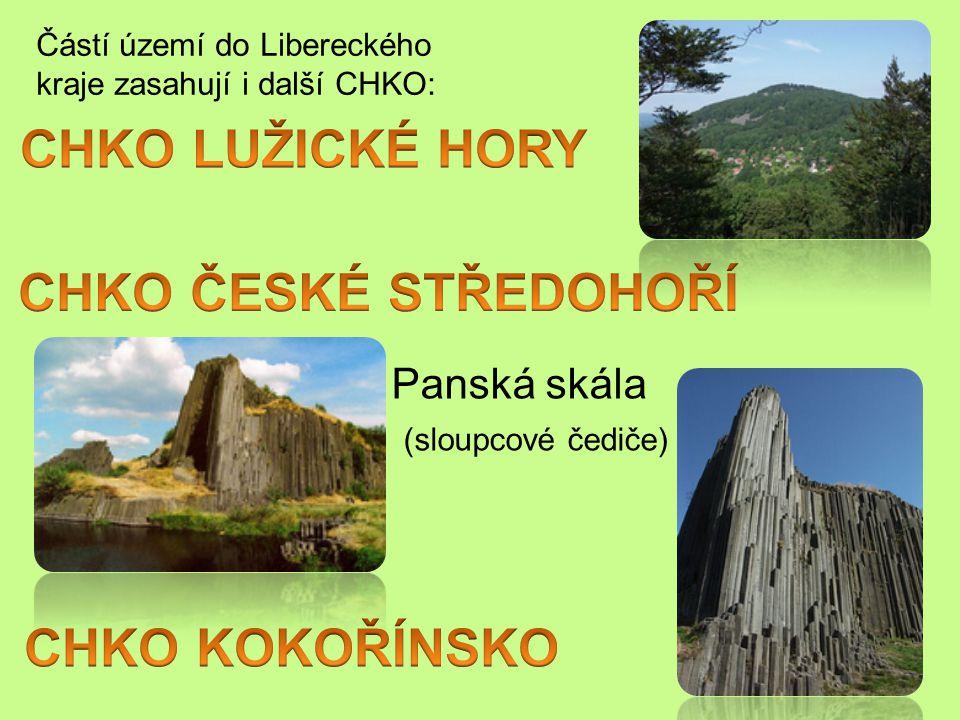 Panská skála (sloupcové čediče) Částí území do Libereckého kraje zasahují i další CHKO: