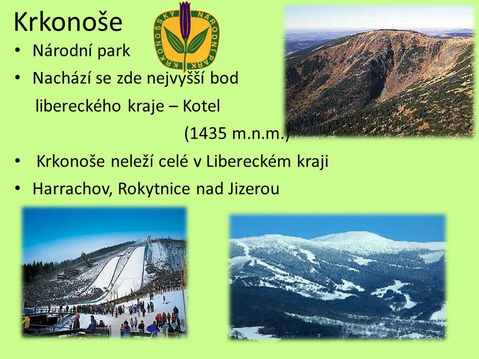 Krkonoše Národní park Nachází se zde nejvyšší bod libereckého kraje – Kotel (1435 m.n.m.) Krkonoše neleží celé v Libereckém kraji Harrachov, Rokytnice nad Jizerou