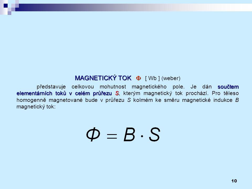 10 MAGNETICKÝ TOK  MAGNETICKÝ TOK   [ Wb ] (weber) součtem elementárních tokův celém průřezu S představuje celkovou mohutnost magnetického pole. J