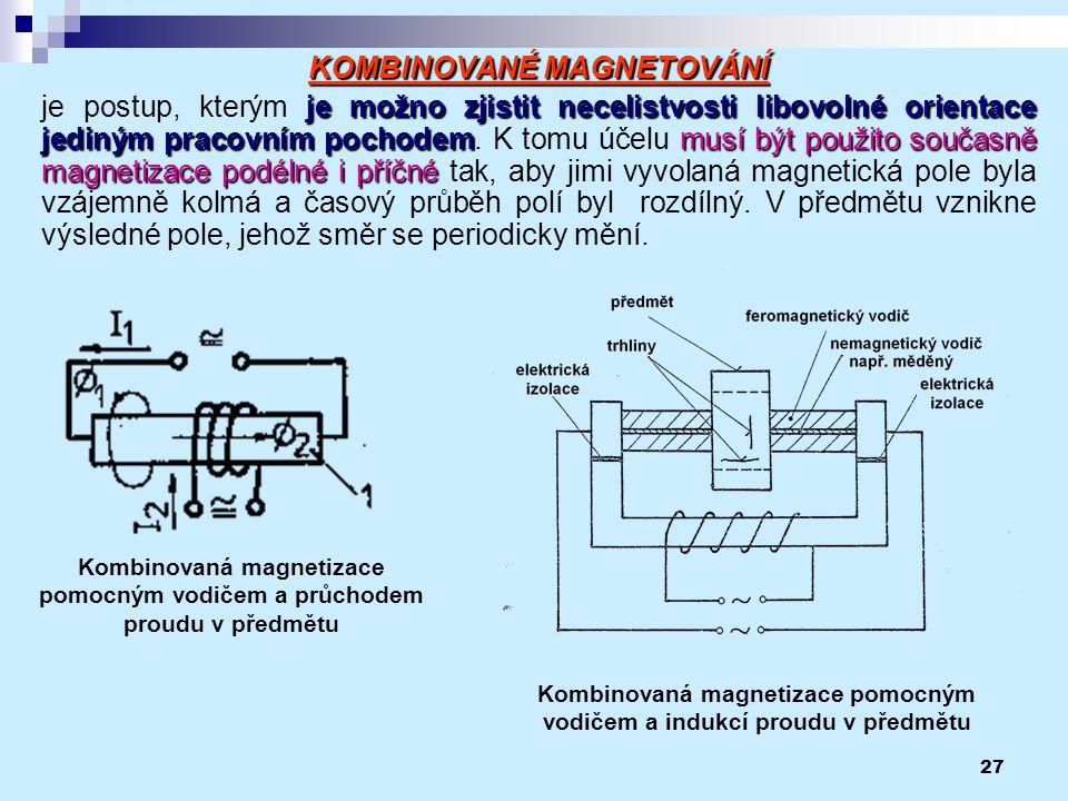 27 KOMBINOVANÉ MAGNETOVÁNÍ je možno zjistit necelistvosti libovolné orientace jediným pracovním pochodemmusí být použito současně magnetizace podélné