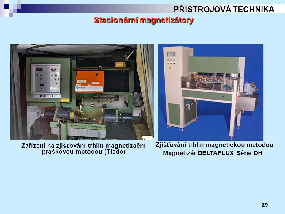 29 PŘÍSTROJOVÁ TECHNIKA Zařízení na zjišťování trhlin magnetizační práškovou metodou (Tiede) Stacionární magnetizátory Zjišťování trhlin magnetickou m