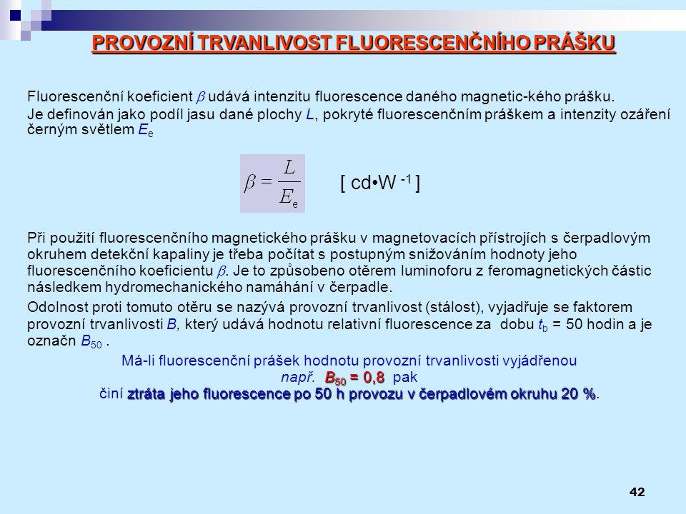 42 Fluorescenční koeficient  udává intenzitu fluorescence daného magnetic-kého prášku. Je definován jako podíl jasu dané plochy L, pokryté fluorescen
