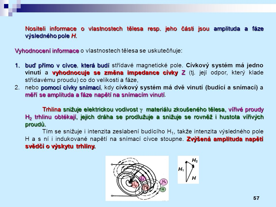 57 Nositeli informace o vlastnostech tělesa resp. jeho části jsou amplituda a fáze výsledného pole H. Vyhodnocení informace Vyhodnocení informace o vl