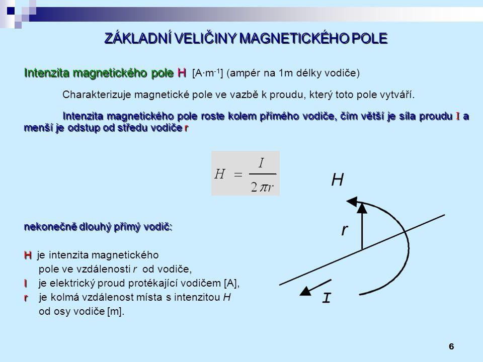 6 ZÁKLADNÍ VELIČINY MAGNETICKÉHO POLE Intenzita magnetického poleH Intenzita magnetického pole H [A∙m -1 ] (ampér na 1m délky vodiče) Charakterizuje m