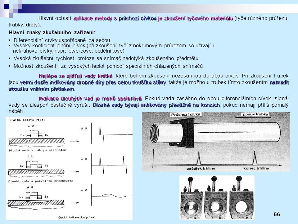 66 aplikace metody s průchozí cívkou je zkoušení tyčového materiálu Hlavní oblastí aplikace metody s průchozí cívkou je zkoušení tyčového materiálu (t
