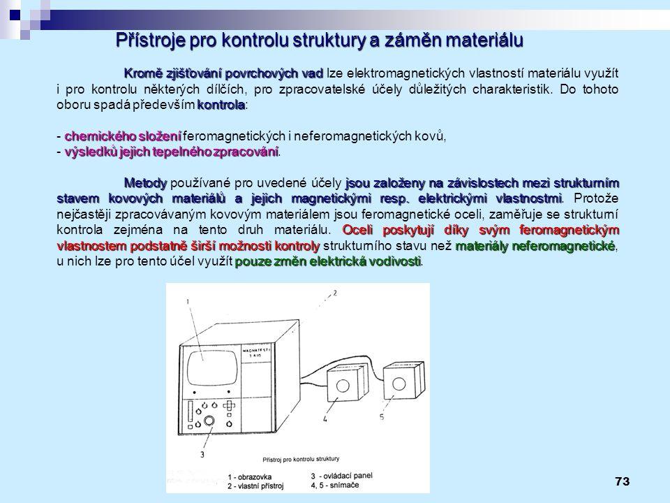 73 Přístroje pro kontrolu struktury a záměn materiálu Kromě zjišťování povrchových vad kontrola Kromě zjišťování povrchových vad lze elektromagnetický