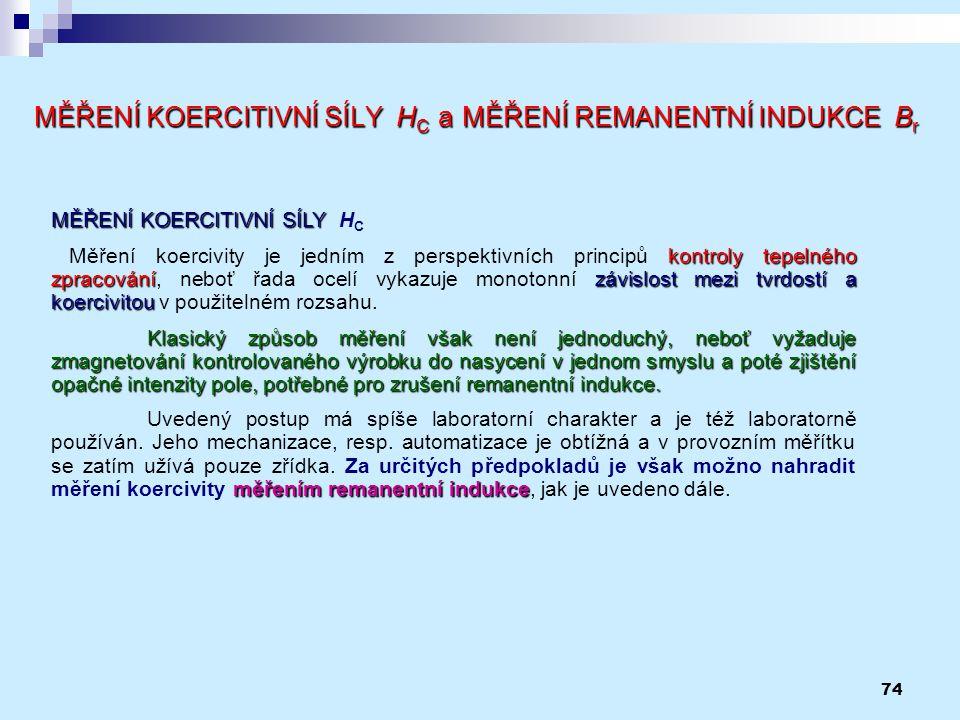 74 MĚŘENÍ KOERCITIVNÍ SÍLY H C a MĚŘENÍ REMANENTNÍ INDUKCE B r MĚŘENÍ KOERCITIVNÍ SÍLY MĚŘENÍ KOERCITIVNÍ SÍLY H C kontroly tepelného zpracovánízávisl