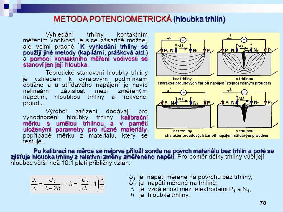 78 METODA POTENCIOMETRICKÁ (hloubka trhlin) Vyhledání trhliny kontaktním měřením vodivosti je sice zásadně možné, ale velmi pracnéK vyhledání trhliny