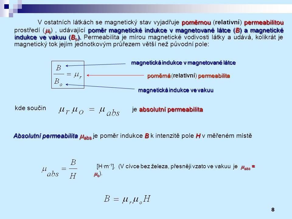 8 poměrnoupermeabilitou  r poměr magnetické indukce v magnetované látce (B) a magnetické indukce ve vakuu (B o ). V ostatních látkách se magnetický s