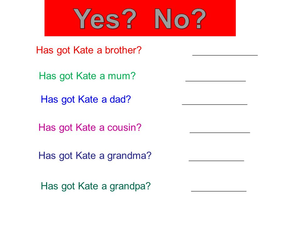 Has got Kate a brother. _____________ Has got Kate a mum.