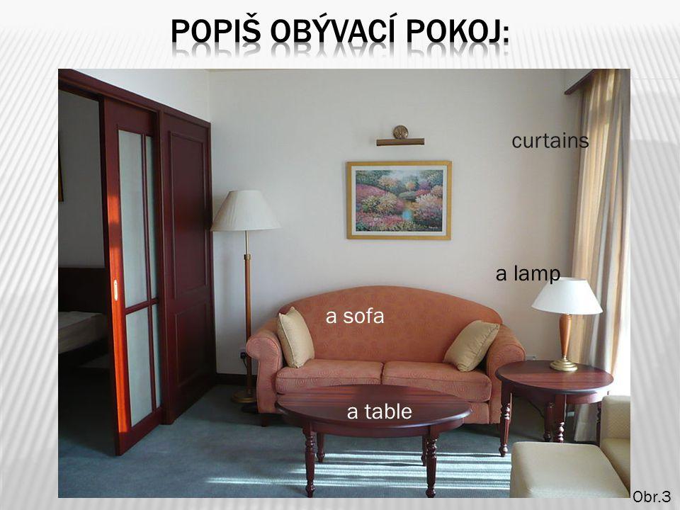 a table a sofa curtains a lamp Obr.3