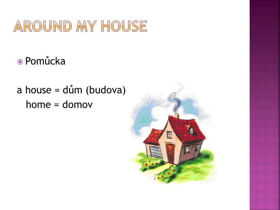  Pomůcka a house = dům (budova) home = domov