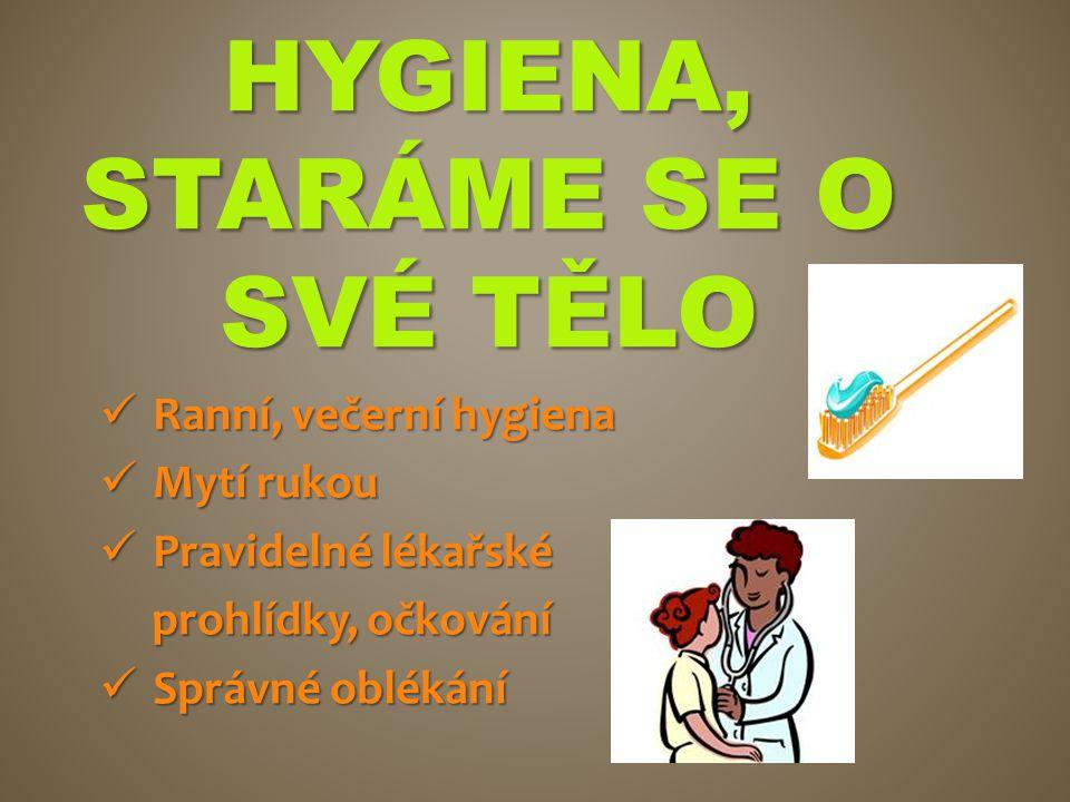 HYGIENA, STARÁME SE O SVÉ TĚLO Ranní, večerní hygiena Ranní, večerní hygiena Mytí rukou Mytí rukou Pravidelné lékařské Pravidelné lékařské prohlídky,
