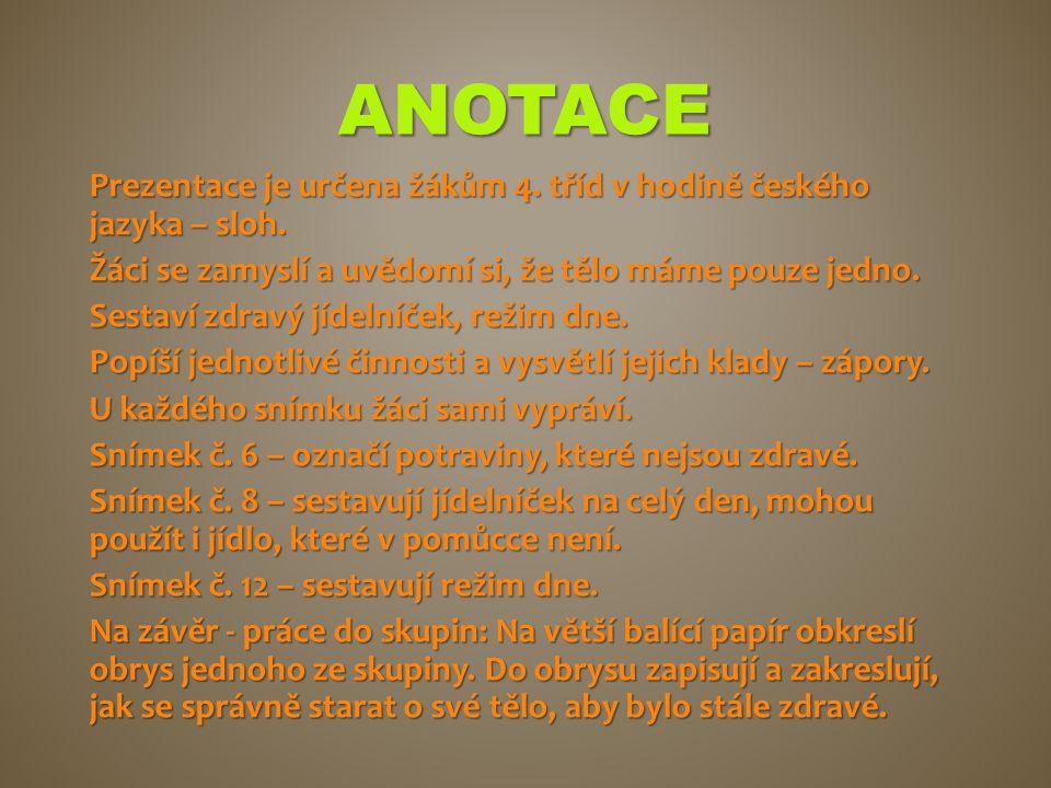 ANOTACE Prezentace je určena žákům 4. tříd v hodině českého jazyka – sloh. Žáci se zamyslí a uvědomí si, že tělo máme pouze jedno. Sestaví zdravý jíde
