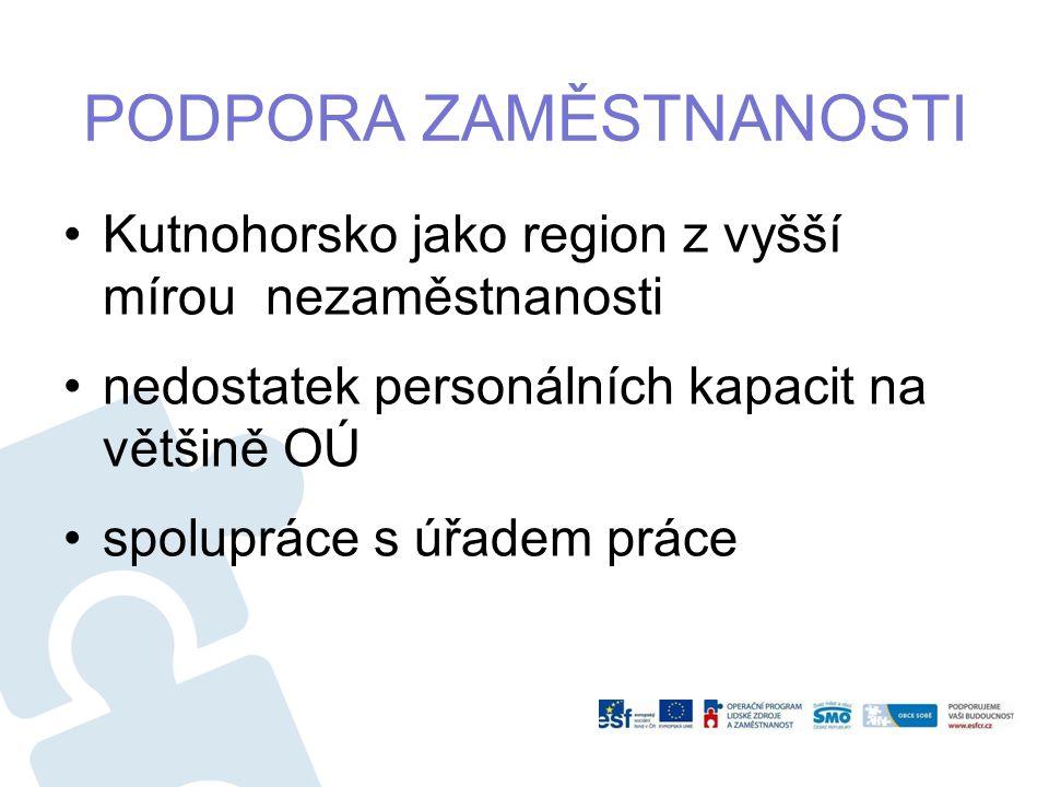 Kutnohorsko jako region z vyšší mírou nezaměstnanosti nedostatek personálních kapacit na většině OÚ spolupráce s úřadem práce PODPORA ZAMĚSTNANOSTI